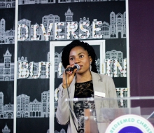 """Olubukola Oladeinde speaking about Knowing your Purpose in Life at the """"You're not alone"""" event. July 2016"""